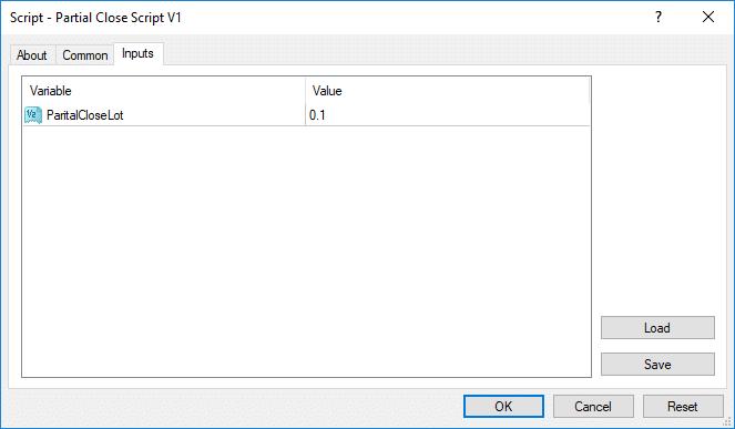 اكسبريت إغلاق جزئي من حجم لوت الصفقة المفتوحه